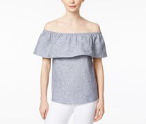 Kensie Women's Off-The-Shoulder Flounce Top, Grey