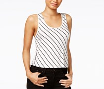 Kensie Women's French Vanilla Striped Laced Back Crop Top, White