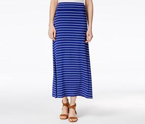 kensie Women's Striped Maxi Skirt, Blue/White