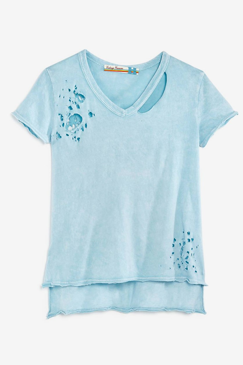 Girls' Distressed V-Neck Tee, Light Blue
