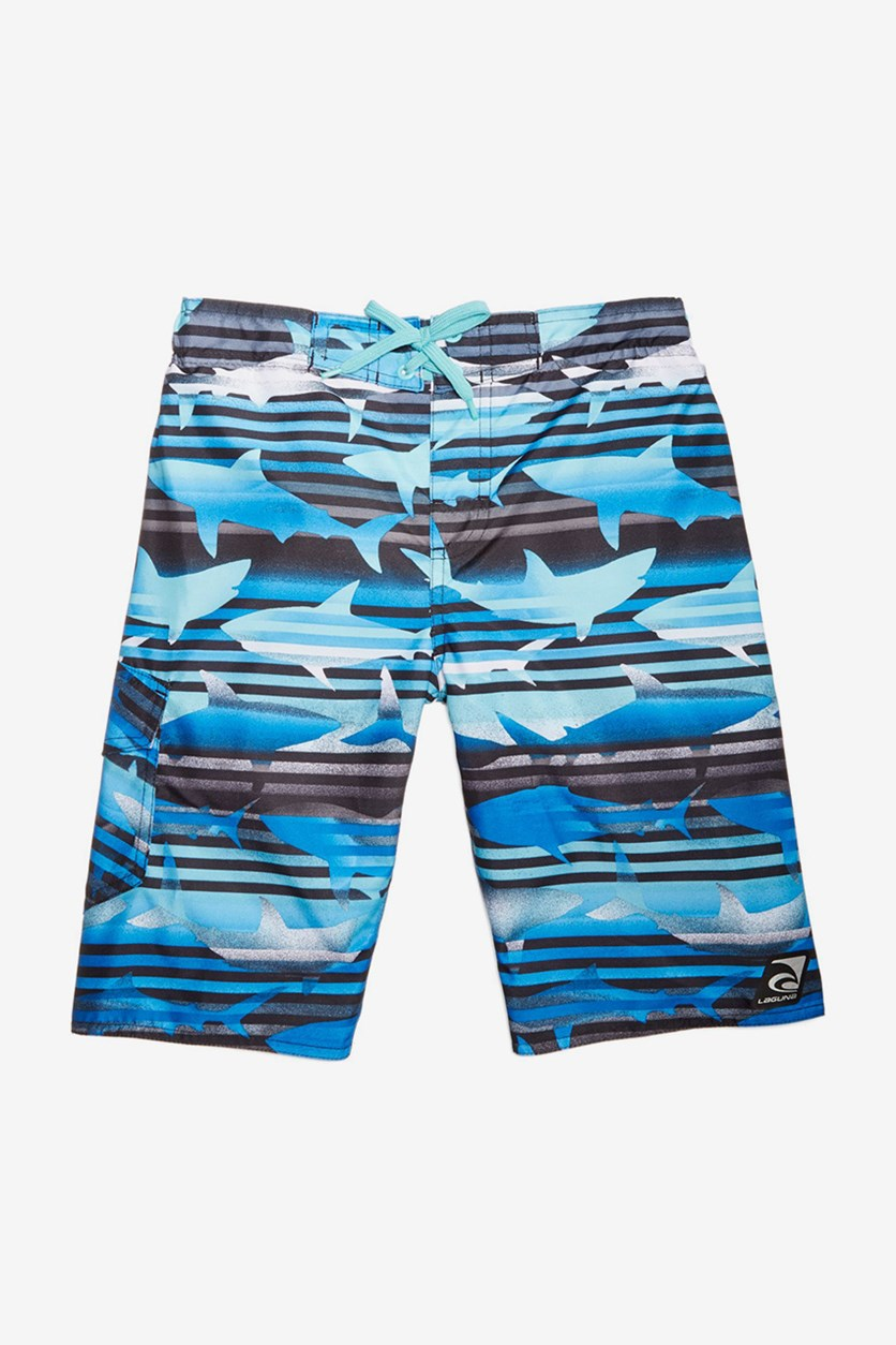 Toddler Boys Shark-Print Swim trunks, Blue Combo