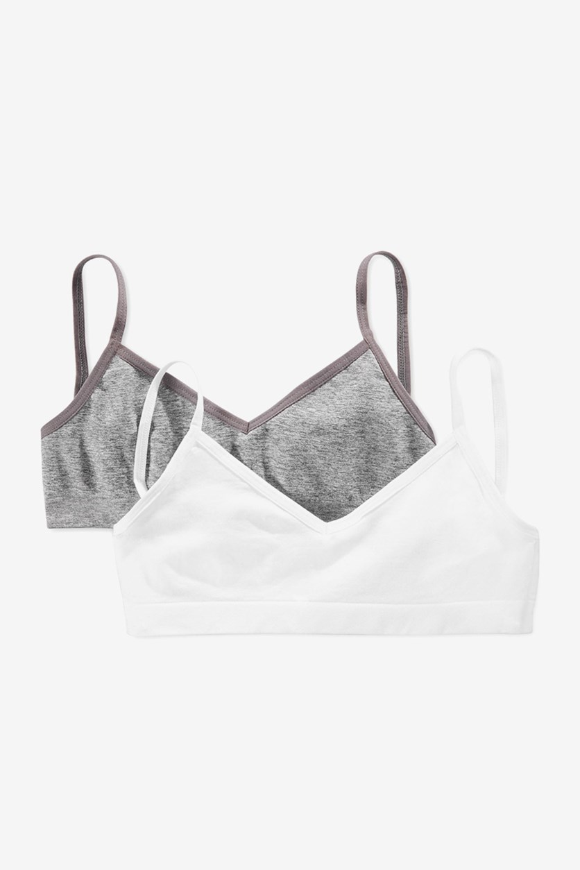 Girls' 2-Pack Crop Bras, Grey/White
