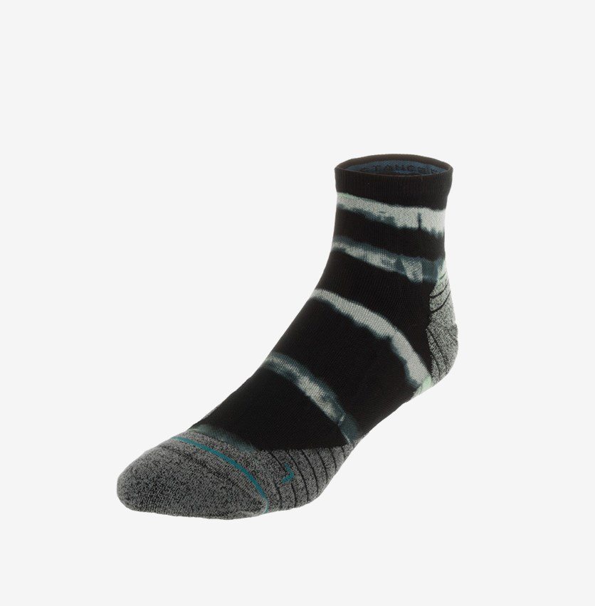 Men's Momentum Quarter Running Sock, Black/Mint