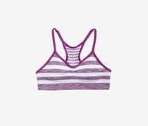 Girls Ruched Stripe Bra, Grape Stripe
