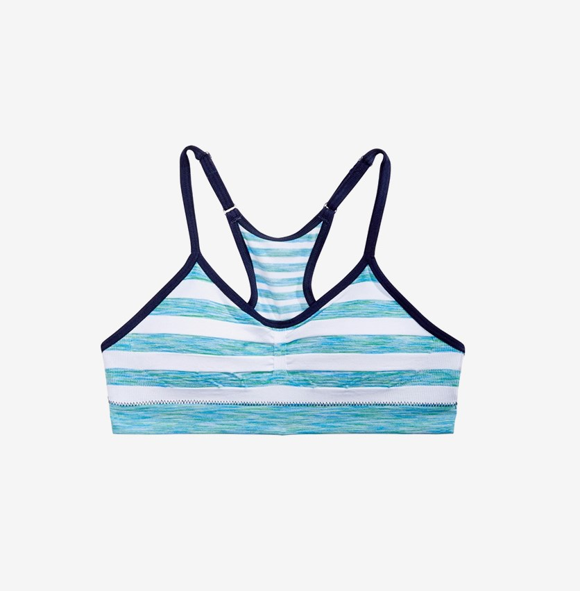 Ruched Striped Seamless Crop Bra, Teal/White