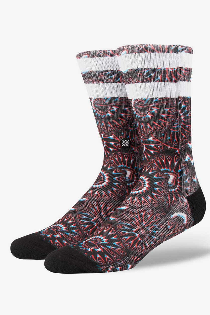 Men's Outtie Crew Socks, Black/Red Combo