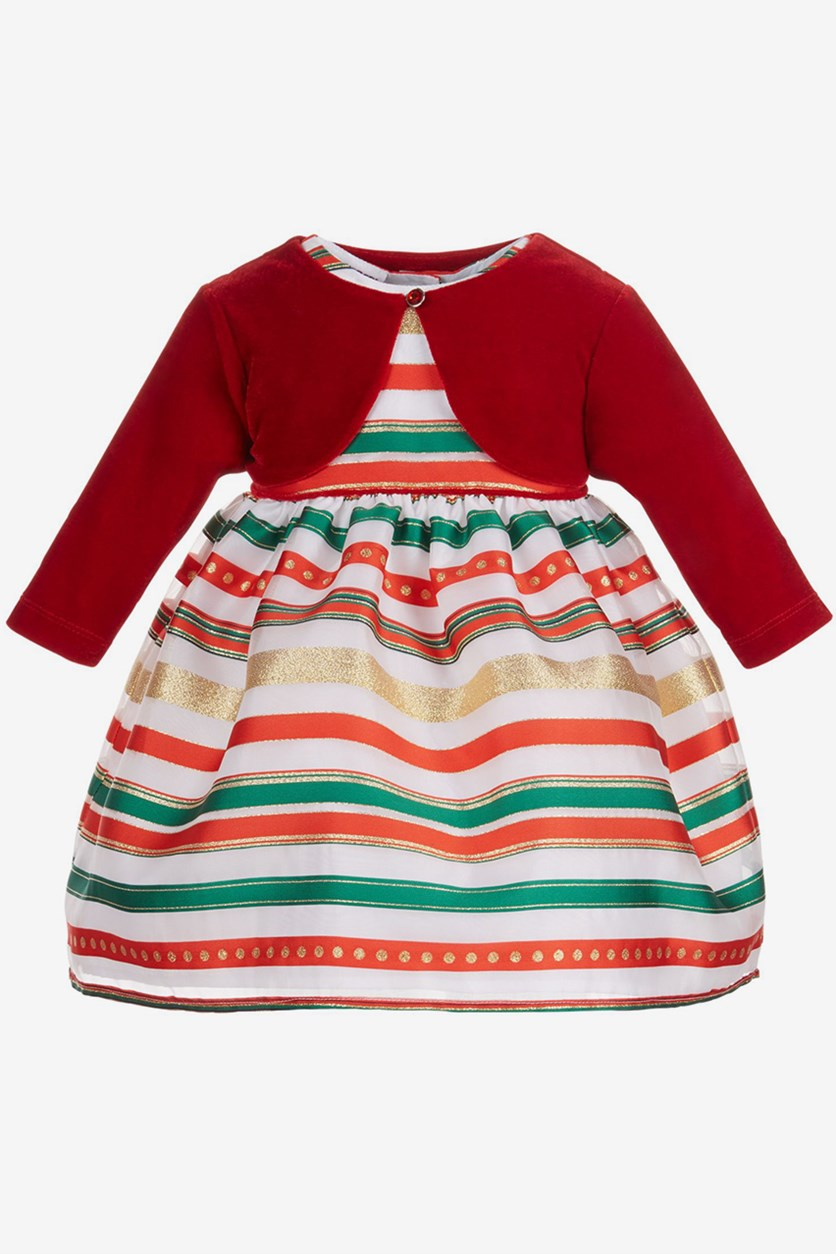 Baby Girls 2-Pc. Shrug & Striped Dress Set, Red Combo