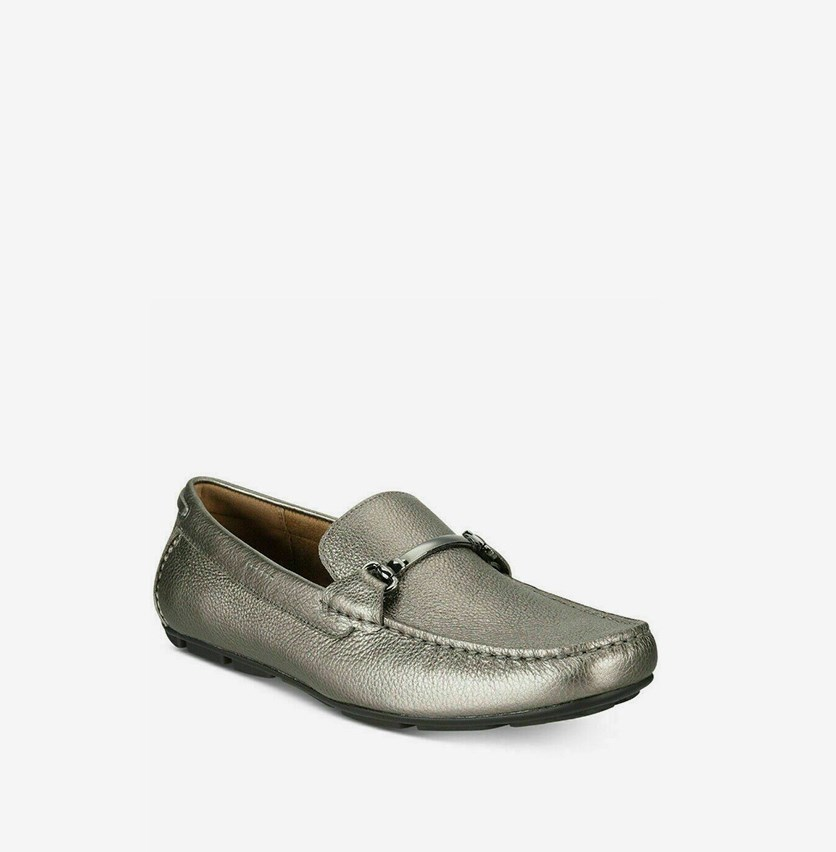 Mens Tumbled Drivers Shoes, Pewter