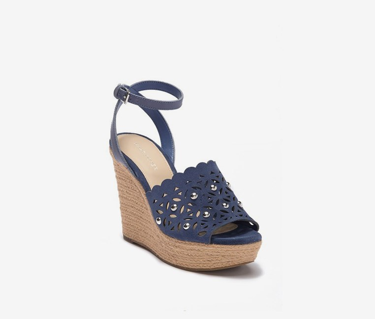 Hata Wedge Sandals, Blue