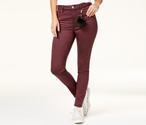 Tinseltown Women's High-Waist Skinny Jeans with Pom-Pom, Maroon