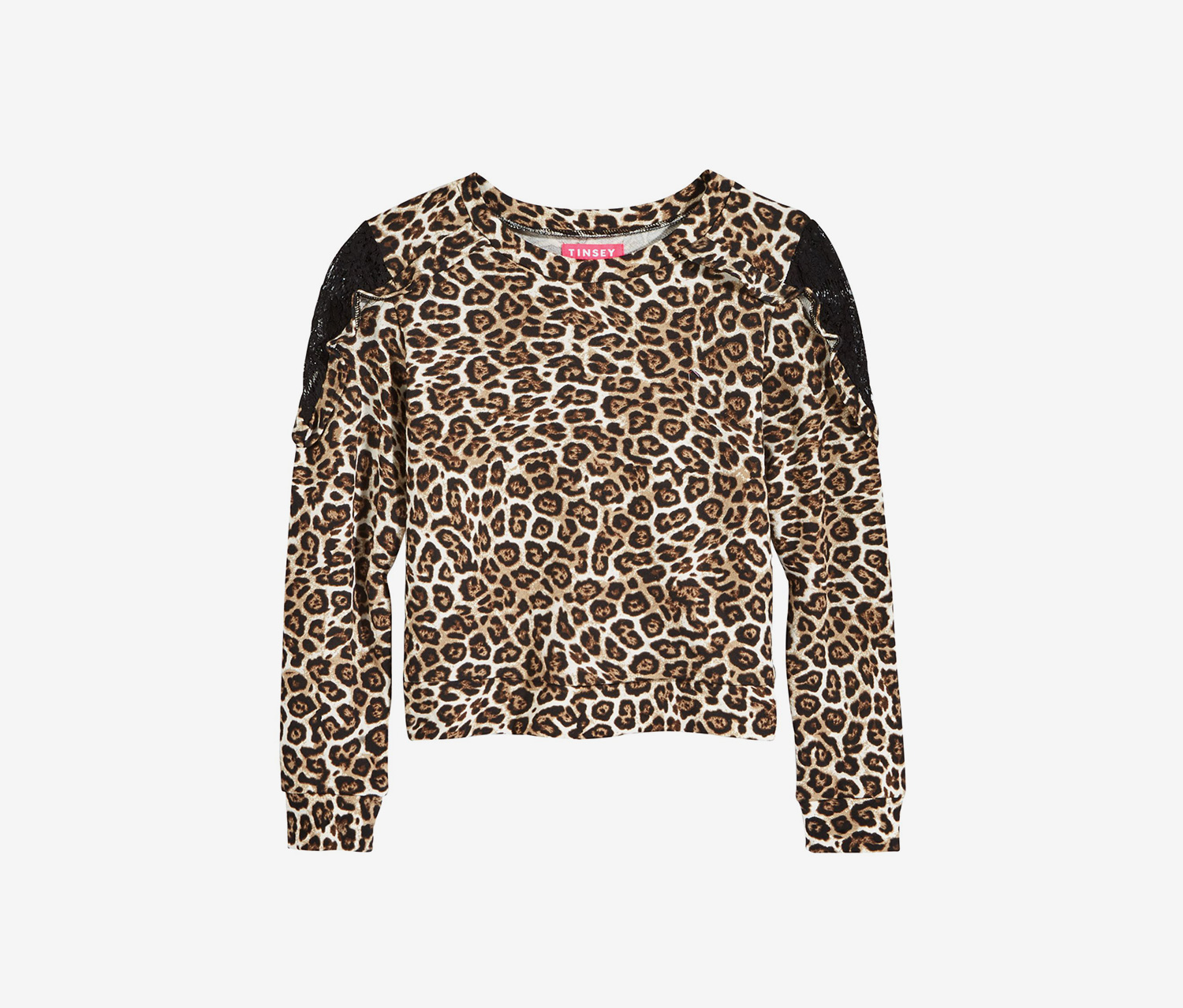 Lace-Trim Animal-Print T-Shirt, Leopard