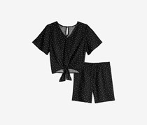 Love, Fire Girls 2-Pc. Dot-Print Top & Shorts Set, Black