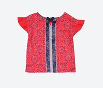 Nautica Girl's Print Top, Red