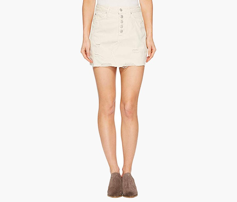 Women's Denim A-Line Skirt, Off White