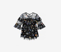 Beautees Girls Quarter Ruffle Sleeve Butterfly Mesh Top, Black