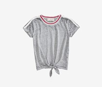 Pink Republic Girl's Tie-Front Burnout T-Shirt, Grey