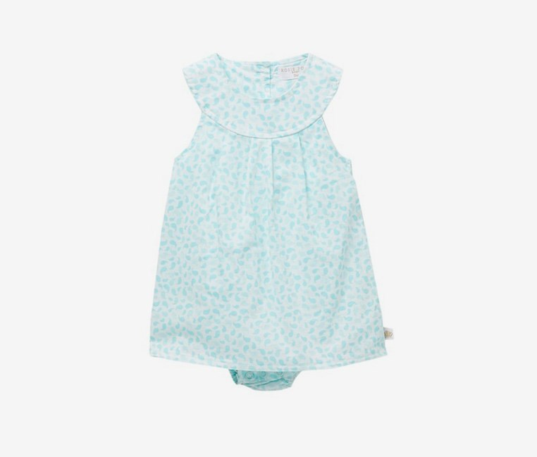 Toddlers Sundress Bodysuit, Aqua/Ivory