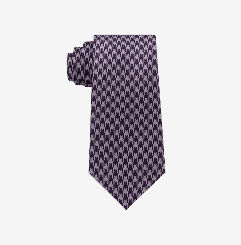 Men's Retro Houndstooth Silk Tie, Purple