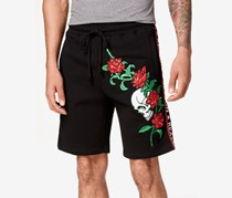 Reason Men's Embroidered Shorts, Black