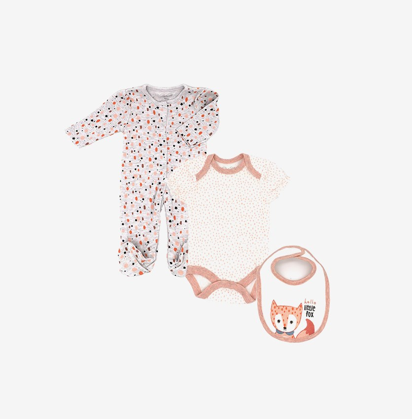 Toodlers Fox 3 pcs Set, Grey/Ivory/Orange Combo