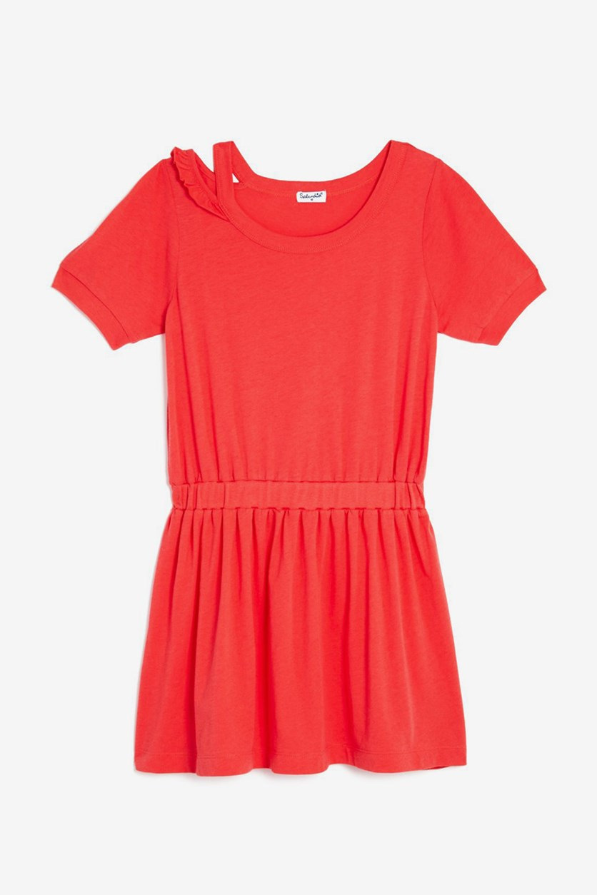 Girls Distressed Shirt Dress, Coral/Pink