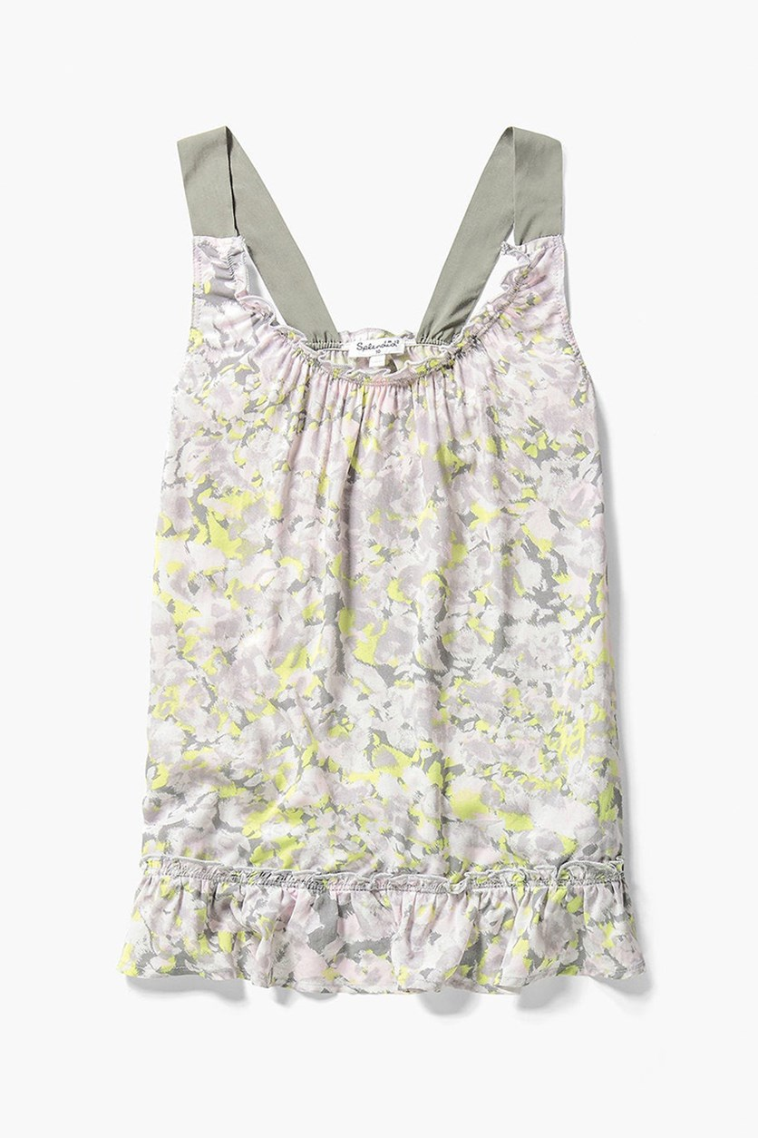 Girls' Ruffled Top, Light Grey Combo