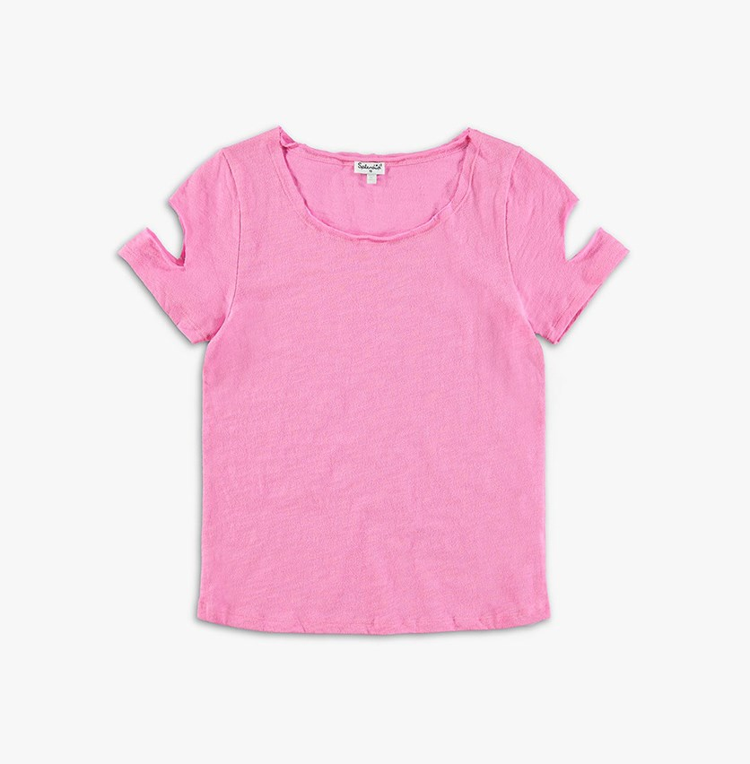 Girl Short Sleeve Cutout Top, Pink