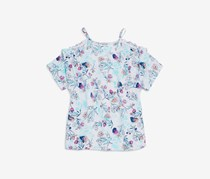 Splendid Girls' Floral-Print Cold-Shoulder Top, White Combo