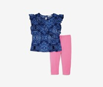 Kids Girls' Ruffled Top & Leggings Set, Navy/Pink