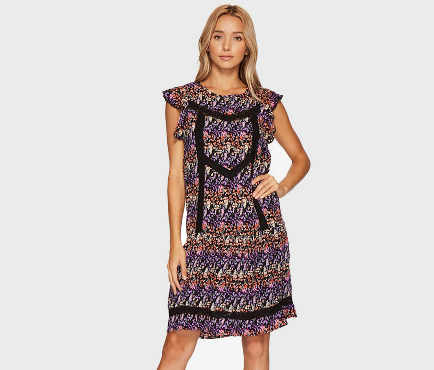 Romeo & Juliet Couture Woven Floral Dress, Black Combo