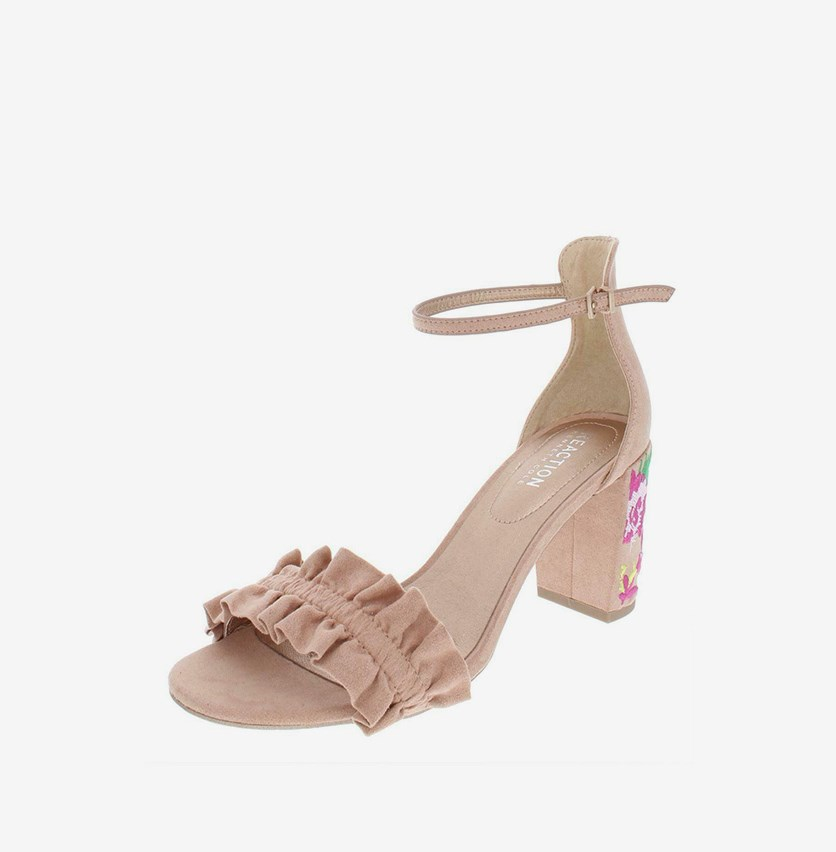 Reaction Women's Rise Ruffle Heeled Sandal, Rose