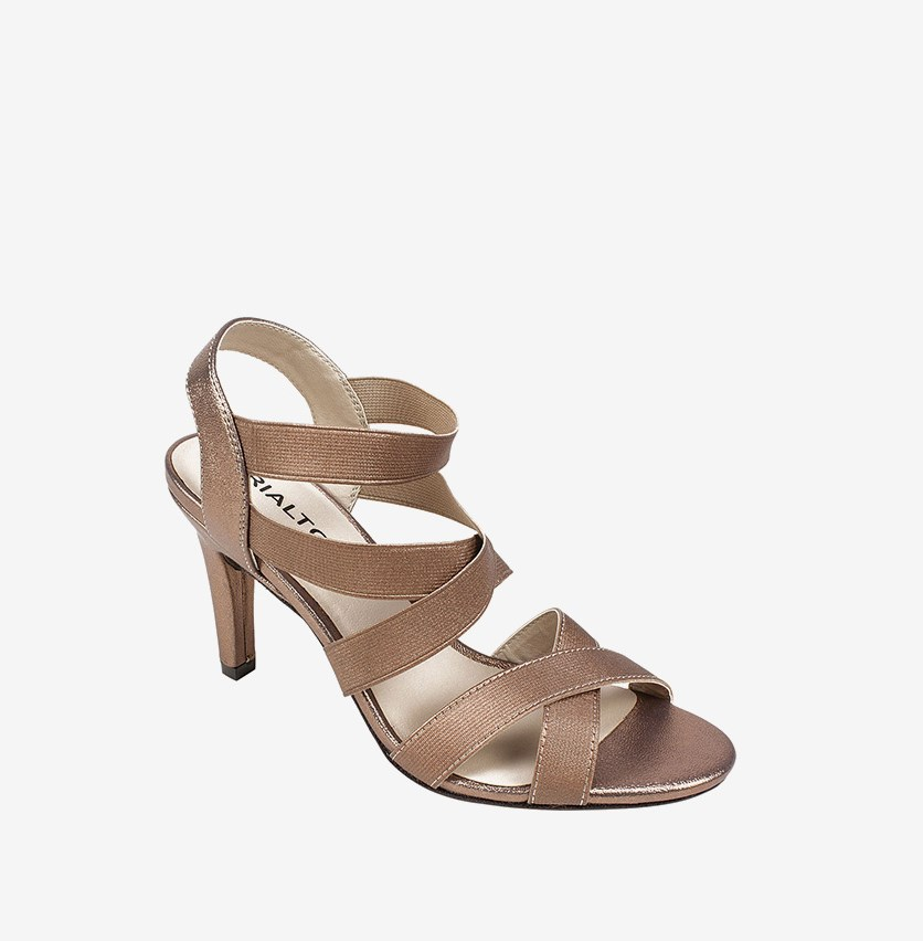 Roselle Strappy Slip On Sandals, Bronze/Metallic