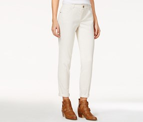 Rewind Women's Techno Tuck Cuffed Skinny Jeans, Off White