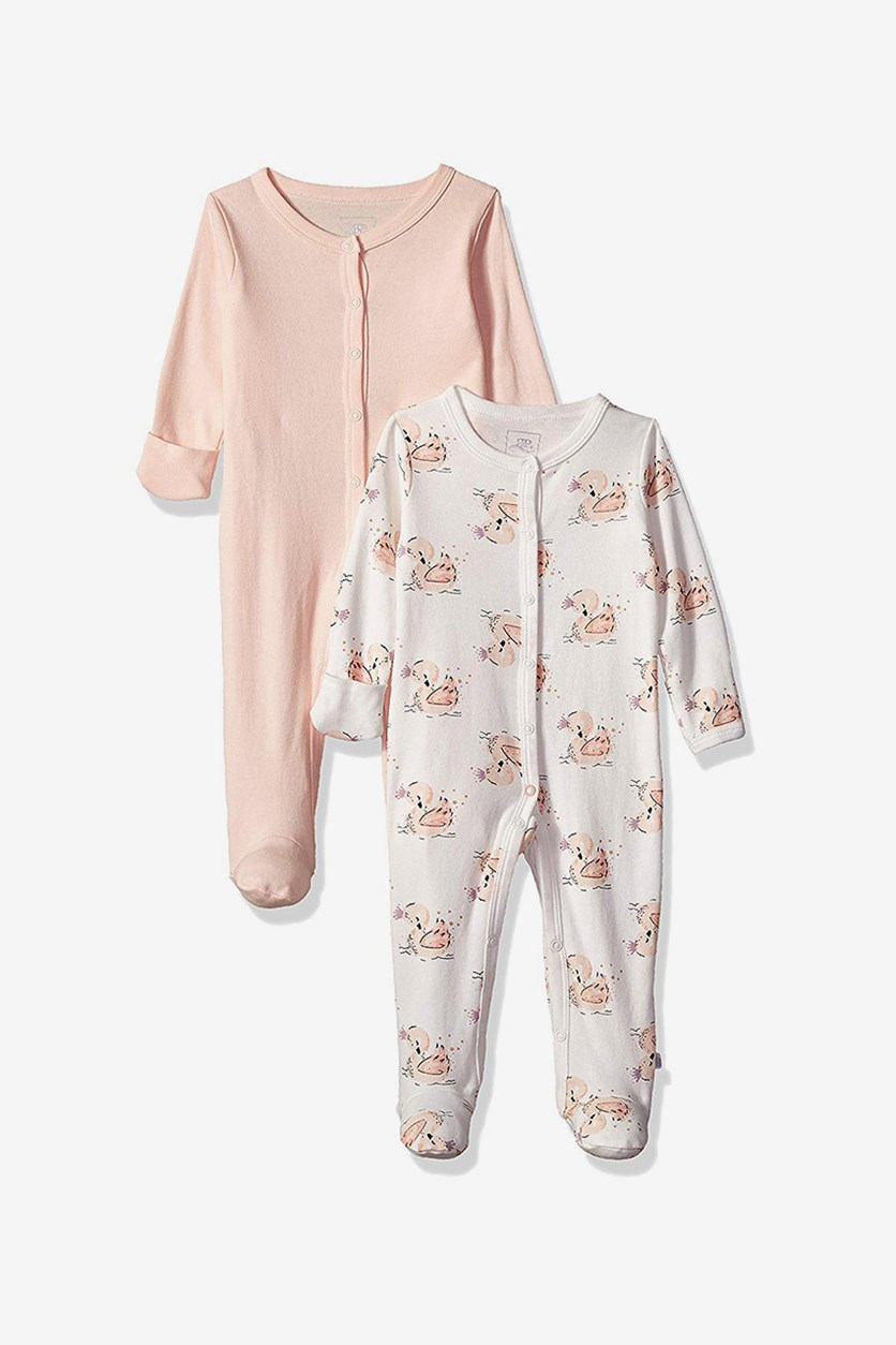 Toddler Baby Girls' 2 Pack Coveralls, White/Peach
