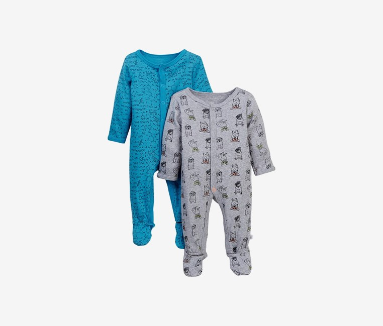 Toddlers Boy's 2-Pack Print Footies Set, Blue/Gray