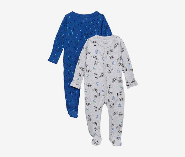 Baby Boy's Print Coveralls  Set of 2, Blue/Grey