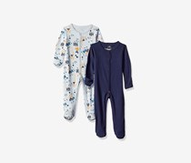 Rosie Pope Toddler Kids Baby Girls 2 Pack Coveralls, Navy Blue