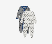Toddler Footie Coveralls - Pack of 2, Grey/White