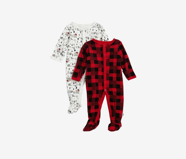 Rosie Pope Baby Boys 2-Pack Print Footies, White/Red