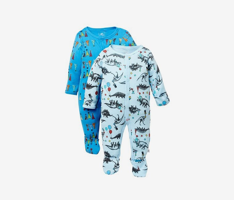 Toodlers Party Animal Footie Pack of 2 Bodysuit, Blue Combo