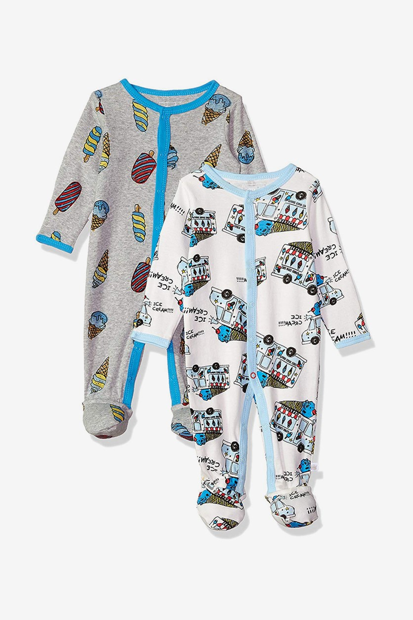 Baby Boys' Coveralls 2 Pack, Gray Ice Cream