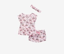 Rosie Pope Toddlers Girl's Cotton Print Top, Short, & Headband Set, Pink