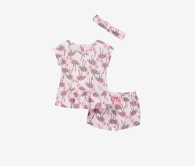 Toddlers Girl's Cotton Print Top, Short, & Headband Set, Pink