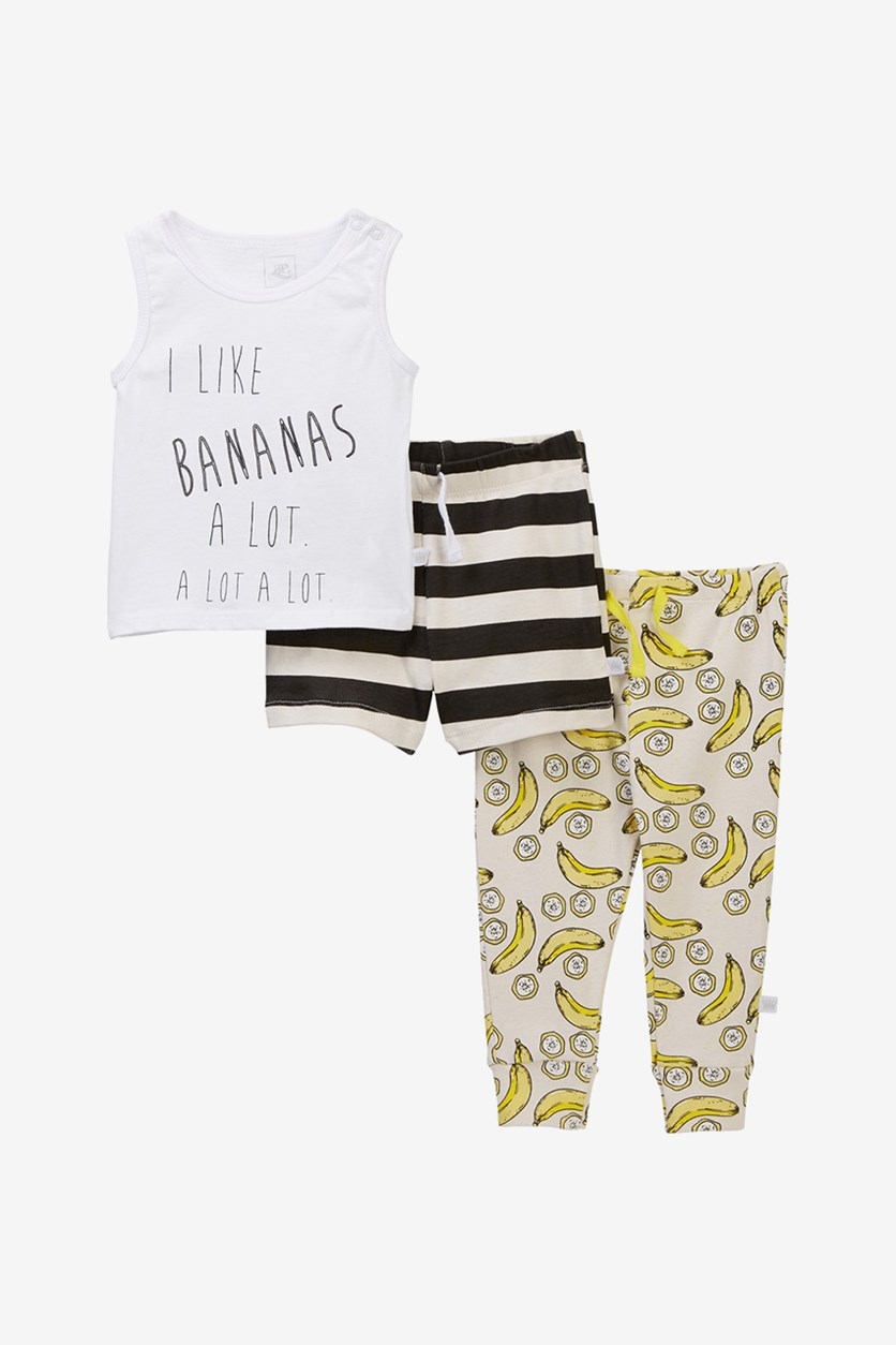 Graphic Print Tank Shorts & Pants Set, White/Yellow Combo