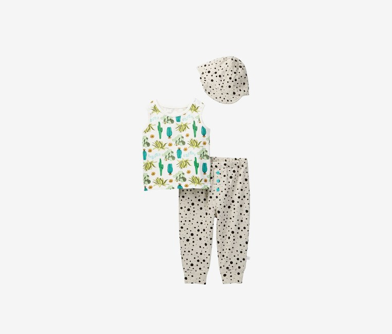 Toddlers Boy's Cactus Tank, Dot Pant, & Hat Set, White/Green/Gray Combo