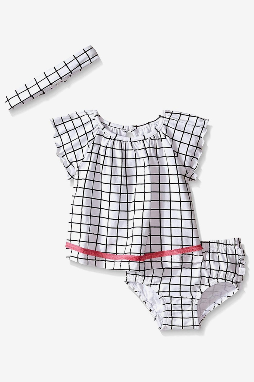 Baby Girls' Little Baby Girls' Checked 3 Piece Set & Matching Headband, White/Black