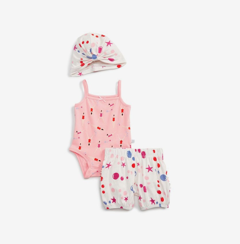 Toddlers Girl's Hat Swimmer & Bloomer Set, Pink/White