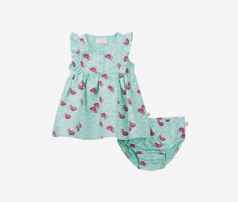 Flamingo Dress & Bloomer Set, Aqua