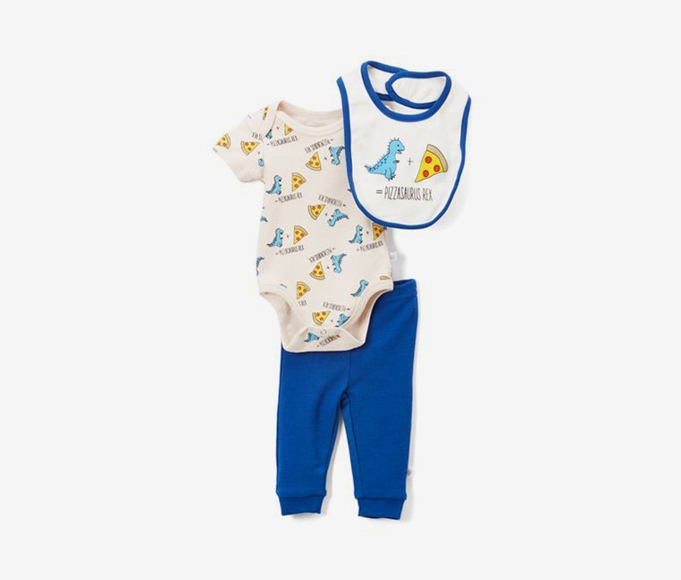 Toddlers 3-pc Pizzasaurus Rex Set, Blue/Beige