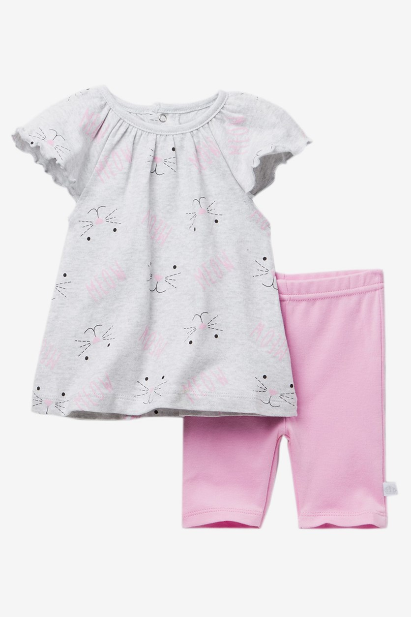 Baby Girls Dress & Leggings  Set, Grey/Pink